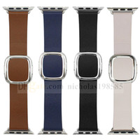 adjustable replacement leather strap - Modern Buckle Magnetic Leather For Apple Watch Adjustable Strap iWatch Magnetic Band mm mm Replacement Wristband With Connector Adapter