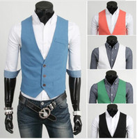 Wholesale Men s Business Suit Slim Formal Casual Waistcoat Vest Fit Suits Slim Cotton Vest Shirts Sleeveless Multi color Personalize Men Vest J160208