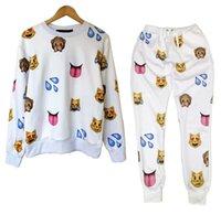 Cheap 2015 new 3D tracksuits print cartoon emoji jogging suits sweat shirts + pants 2 piece set for men women sportwear