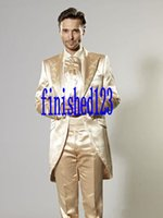 Wholesale Silk Suits 46 - High Quality One Button Gold Embroidery Groom Tuxedos Peak Lapel Groomsmen Best Man Wedding Prom Dinner Suits (Jacket+Pants+Girdle+Tie)G3030