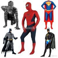 america s game - High Quality Halloween Mens Spiderman Superman Batman Captain America Costume Adult Children Lycra Superhero Cosplay Costumes