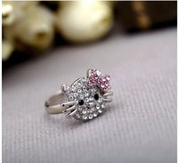 Wholesale Fashion jewelry rings cute clear rhinestonr cat with full drill Bow opening Rings J153