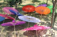 HR 2015 de moda farbic sombrillas boda color sólido de bambú chino de largo diámetro sombrillas rectas 33 pulgadas 30 PC / porción del envío de la gota