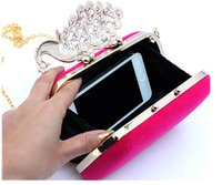Wholesale Peacock Crystal Beading Women Handbags Four Colors Available Mini Fashion Clutch Bags Wedding Evening Hand Bags