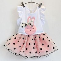 american rabbits - Girls dot bowknot Lace suit new Cartoon rabbit Flying sleeve T shirt Lace Short skirt Suit