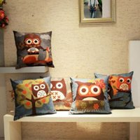 Wholesale New Owl Print Pillow Case Back Sofa Throw Cotton Linen Cushion Cover Room Decor