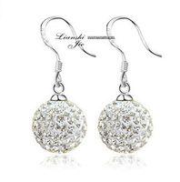 Wholesale 925 Sterling Silver Drop Earring Women Disco Ball Bead Crystal Shamballa Silver Drop Earring Retro Fashion Jewelry D1045