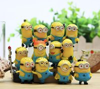 Wholesale 12 pieces small Minion Decorations Dolls thief dads despicable me yellow office dolls hands dolls furnishing articles DT10