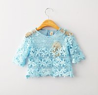 high quality t-shirt white - Girls Lace Clothes Pure Color Half Sleeve Blouse High Quality Baby Kids Summer Clothing Blue White Children All Match T shirts