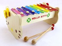 Wholesale Children s musical toy wooden frame bar octaves eight tones xylophone hand knock harp of cartoon cat eight solid wooden harp