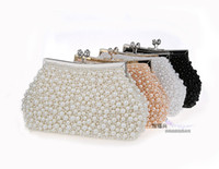 beaded pouches - New Pearl eaded Evening Bags Imitation Pearls Bridal Clutch Handbag With Chain Lovely Pouch Purse Colors Bridal Accessories Cheap WZ