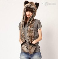Wholesale Cheap Trapper Hat Fur - Wholesale-Wonderful Rabbit Fur Hat Women's Winter Earflap Hats+Scarf+Gloves Hippie Cap Cheap Sale,Free Shipping