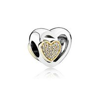 14k real gold - New Valentine Day Sterling Silver K Real Gold Joined Together Charm Bead Fits European Pandora Jewelry Bracelets Necklace