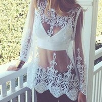 Wholesale Crochet Shirts For Women - S-XL Summer Lace Shirts White Sexy See Through Women Floral Blousa Tops Blouses Lace Crochet Tops For Women