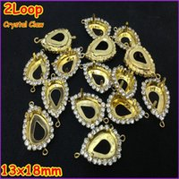 Wholesale 2 Loop Gold Plated Pear pendant Claw With Supper Cup Chain For Pear Shape Fancy Stone acrylic rhinestones holder