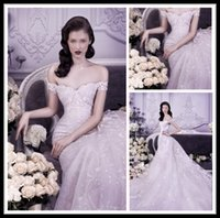Wholesale Luxury Michael Cinco Lace Mermaid Wedding Dresses Off Shoulder Sweetheart Cathedral Train Wedding Bridal Gowns Formal Dress For Bride