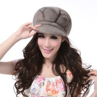 Wholesale New fashion winter women hat Expensive justified Genuine Real mink fur visors hat gray