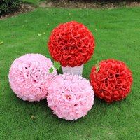 Wholesale CM quot New Artificial Encryption Rose Silk Flower Kissing Balls Hanging Ball Christmas Ornaments Wedding Party Decorations