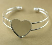 Wholesale pieces mm Silver Plated mm Heart Shaped Blank Bangle Base Bracelet Blank Findings Tray Bezel Setting cy768