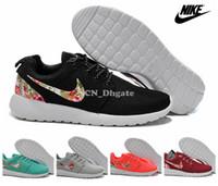 Nike Roshe Run flor floral Swoosh Negro Gris Rojo Naranja trullo hombres de las mujeres de los zapatos corrientes, barato Roshes Correr Deporte Entrenadores Tamaño 36-45