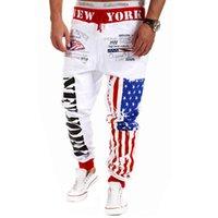 applique flags outdoors - Brand New Men Sport Pants Casual American Flag Sweatpants Emoji Joggers Hip Hop Outdoor Trousers Harem Track Pants Mens Joggers