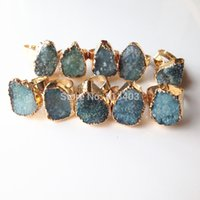 Wholesale Hot Selling Fashion Trendy K Gold Plated Natural Stone Quartz Amethyst Crystal Druzy Drusy Ring For Women