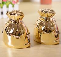 bank folk - Noble golden purse piggy bank home desk ornaments ceramic craft decorations children money boxes