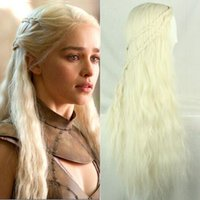 Wholesale New Girl Long Purecolor Light Golden Curls Daenerys Targaryen Cosplay inch Temperature Fiber Synthetic Hair Wigs Fast Shipping