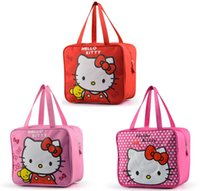 hello kitty tote bags - Canvas Cute Hello Kitty Lunch Bag for Kids Picnic Food Bag for Lunchbox Children School Lunch Box Bag Women Tote Pink Red