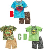 Cheap Hot Boys Summer 2pcs Camouflage Batman Superman Ninja Turtles Clothing Sets(Short Sleeve T-shirt+Short Trousers)3colors Child Outfits L0919