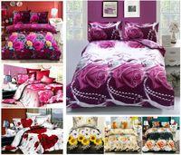 Polyester / Cotton bed linen - New D flower bedding set plant design quilt cover bed linen bedclothes bed set bed sheet duvet cover pillowcases