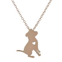 pit bull - 10pcs New Fashion Spring Cute Pit Bull Necklace With Heart Cartoon Dog Pendant Necklace for Women Party Gifts XL194