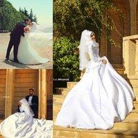 islamic wedding dress - Pretty Muslim Wedding Dresses Modest Arabic Hijab Dresses A Line Jewel Lace Appliques Covered Buttons Back Long Sleeves Islamic Dresses
