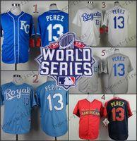 american roads - 2015 World Series Kansas City Royals Salvador Perez Home Road Wholesales Cheap American baseball jerseys Embroidery Logo Mix Order