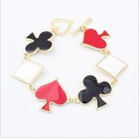 Wholesale Red Black Enamel Individual Heart Poker Charm Bracelet New Bijouterie for Women