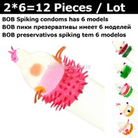 Wholesale 12 BOB box Exotic novelty funny spikes G spot Long love Sex delay condoms color set Natural latex rubber condome for men
