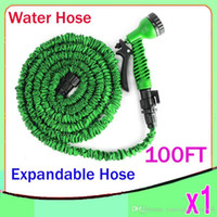Wholesale 100FT HOSE Expandable Flexible Water Garden Hose Hose Flexible Water Hose Blue Green FREE Spray Nozzle ZY SG