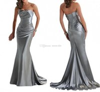 High Neck formal dresses - IN STOCK Cheap Evening Dresses Mermaid Sexy Strapless Lace Up Beaded Silver Gray Purple Bridesmaid Dress Formal Party Gowns Prom Dress