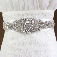 rhinestone wedding belt - 2015 Shining Crystals Wedding Satin Sashes Rhinestones Bridal Belts Beaded Sash Ribbon Belt Bridal Accessories Waistband