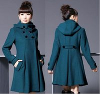 Wholesale Winter Women Double Breasted Slim Hooded Outerwear Wool Coat Long Parka Outwear