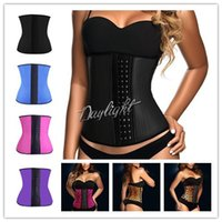 body shaper - 2015 Steel Boned Waist Trainer Rubber Latex Corset Deportiva Sport Latex Waist Cincher Corset Underwear Bustiers Slimming Body Shaper S XL