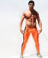 athletics running track - AQ09 Men clothing fashion elastic tight low waist sports running athletics GYM training track suit trousers pants