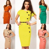 ladies office clothes - Work Dress With Belt New Fashion OL Women Ladies Office Clothes Knee Length Bodycon Slim Pencil Party Dress Plus Size