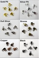 crimp cord end - 300Pcs x9mm Fold Over End Cord Crimp Bead Caps For Leather Cord Jewelry Making Craft DIY AE00506