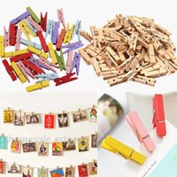 Wholesale 100X Natural Multicolor Wooden Clothe Photo Paper Peg Pin Clothespin Craft Clip
