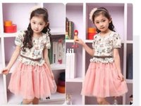 Cheap New Korean children's clothing girls summer short-sleeved dress 2014 Korean children baby tutu princess veil free shipping