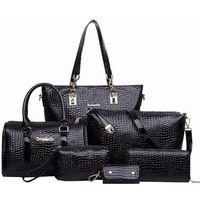 bags pink stone - Fashion Set Women Handbag Crocodile Pattern Composite Bag Stone Women Messenger Bags Shoulder bag Purse Wallet PU Leather Handbags