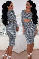 Cheap 2015 New Celebrity Bodycon Bandage Dress Two Piece Dress Set G6722 Sexy Mesh Pencil Dress Crop Top And High Waist Skirt Women Clothing Set
