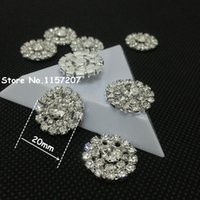 Wholesale 20mm Silver Strass Buttons Flatback Rhinestones Buttons Decorative Crystal Button for Kids Hair Accessories