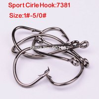 Wholesale 100pcs fishhook fishing Hooks Sport Cirle Hook black color Jig Big Hook